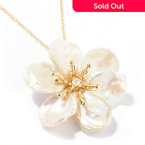 122-251 - 14K Gold 12-14mm Freshwater Cultured Pearl & Diamond Flower Pendant w/ 18'' Chain