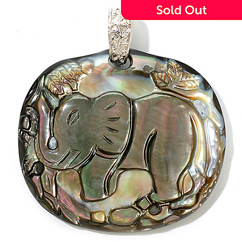 122-257 - Sterling Silver 42 x 38mm Black Mother-of-Pearl Carved Elephant Enhancer Pendant