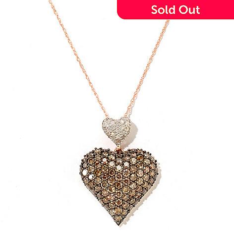 122-263 - Diamond Treasures 14K Rose Gold 2.76ctw Mocha & White Diamond Heart Pendant w/ Chain