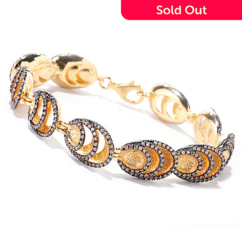 122-267 - Southport Diamonds Gold Embraced™ Sterling Silver 7.75'' 3.25ctw Mocha Diamond Layer Bracelet
