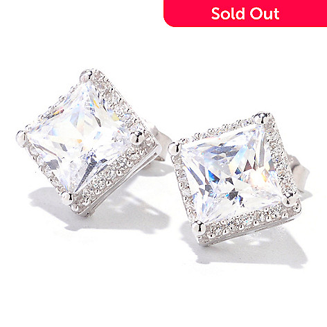 122-287 - Brilliante® 4.24 DEW Square Halo Stud Earrings