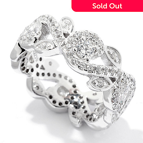 122-294 - Brilliante® Platinum Embraced™ 1.80 DEW Simulated Diamond Swirl Leaf Band Ring