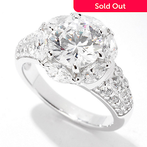 122-296 - Brilliante® Platinum Embraced™ 3.39 DEW Simulated Diamond Flower Ring