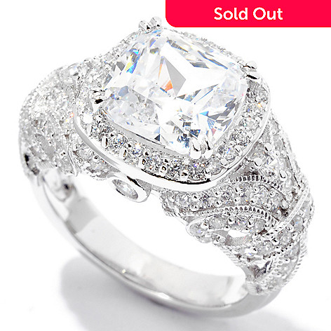 122-297 - Brilliante® Platinum Embraced™ 4.64 DEW Simulated Diamond Cushion Halo Ring