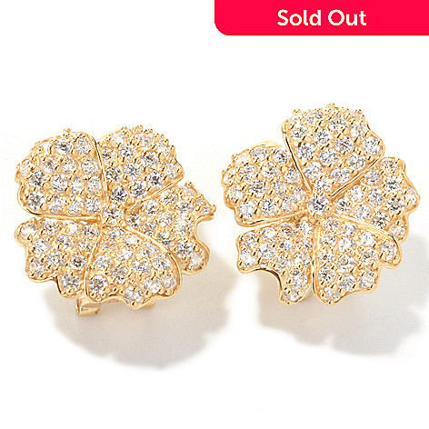122-320 - Sonia Bitton 4.04 DEW Round Cut Simulated Diamond Flower Earrings
