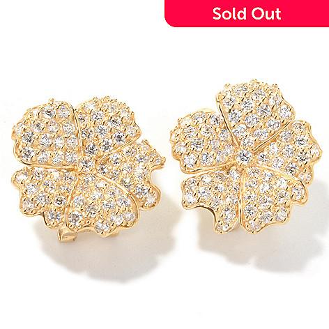 122-320 - Sonia Bitton 4.04 DEW Round Cut Simulated Diamond Flower Earrings