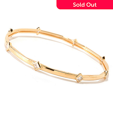 122-322 - Sonia Bitton 1.44 DEW Bezel Set Princess Cut Simulated Diamond Station Bangle