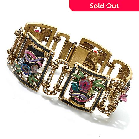 122-329 - Sweet Romance 8'' Multi Color Enamel Jardiniere Deco Bracelet