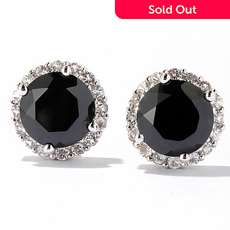 122-334 - Gem Treasures Sterling Silver 7.53ctw Black Spinel & White Topaz Earrings