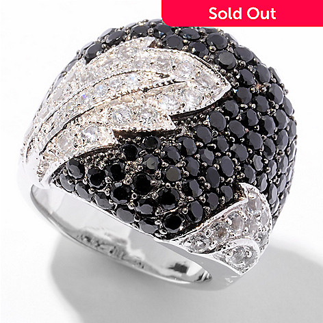 122-335 - Gem Treasures® Sterling Silver 4.41ctw Black Spinel & White Topaz Leaf Ring