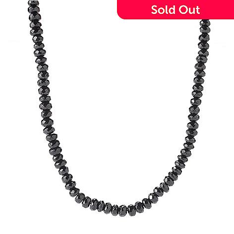122-336 - Gem Treasures® Sterling Silver 20'' Faceted Black Spinel Bead Necklace