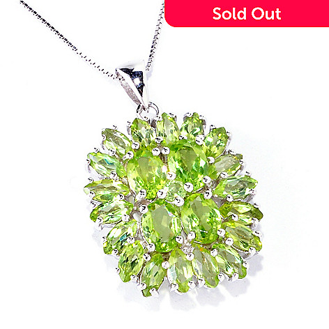 122-345 - Gem Insider™ Sterling Silver 6.66ctw Gemstone Oval Cluster Pendant w/ Chain