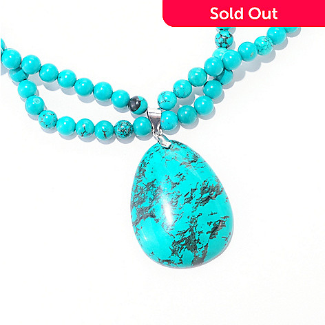 122-364 - Gem Insider Sterling Silver 39 x 30 Turquoise Pendant & Beaded Necklace