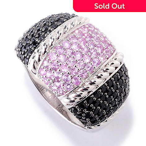 122-373 - Gem Treasures Sterling Silver 1.80ctw Black Spinel & Pink Sapphire Rope Textured Ring