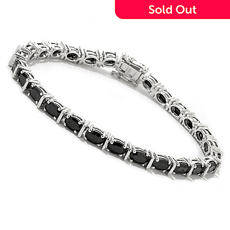 122-376 - Gem Treasures® Sterling Silver Oval Black Spinel Line Bracelet