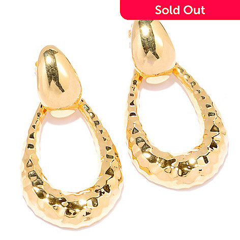 122-378 - Charles Garnier Gold Embraced™ Electroform Hammered Door-Knocker Earrings