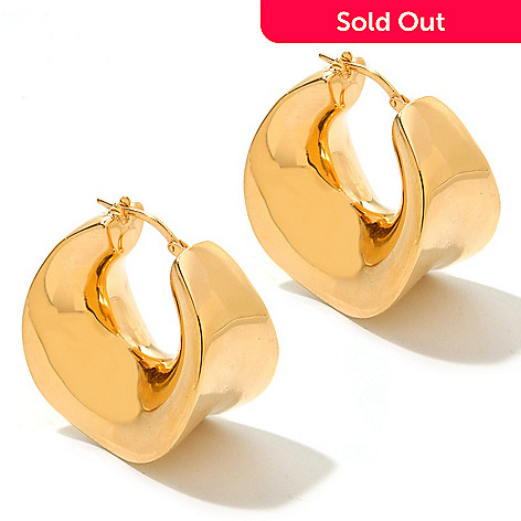 122-381 - Charles Garnier Gold Embraced™ Electroform ''Chantal'' Sculpted Hoop Earrings