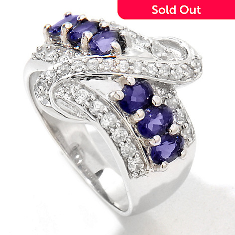 122-395 - Gem Treasures® Sterling Silver 1.40ctw Iolite & White Zircon Band Ring