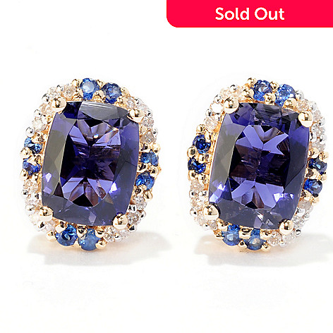 122-397 - Gem Treasures 14K Gold 2.70ctw Iolite, Blue Sapphire & Diamond Earrings