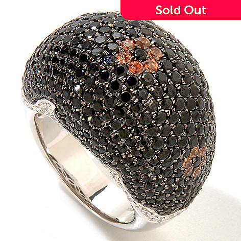 122-403 -  Gem Treasures® Sterling Silver 9.12ctw Black Spinel & Multi Color Zircon Dome Ring