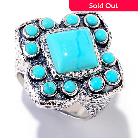122-409 - Gem Insider Sterling Silver 8.5mm Stabilized Turquoise Frame Ring