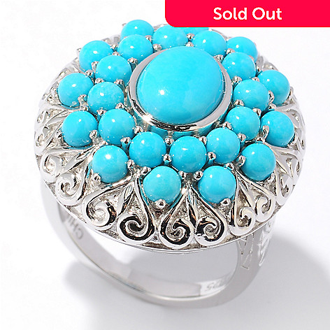 122-413 - Gem Insider™ Sterling Silver 9 x 7mm Sleeping Beauty Turquoise Scrollwork Ring