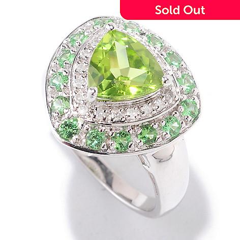 122-417 - Gem Insider™ Sterling Silver 2.52ctw Peridot, Tsavorite & Diamond Ring