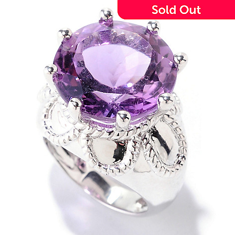 122-418 - Gem Insider Sterling Silver 12.21ctw Amethyst Rope Detailed Ring