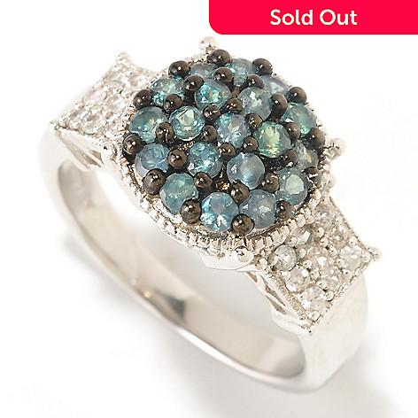 122-419 - Gem Insider™ Sterling Silver 1.01ctw Zircon & Alexandrite Round Pave Ring