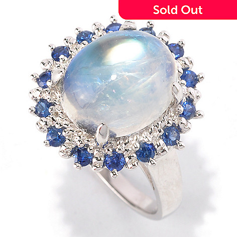 122-422 - Gem Insider® Sterling Silver 12 x 10mm Moonstone & Sapphire Halo Ring