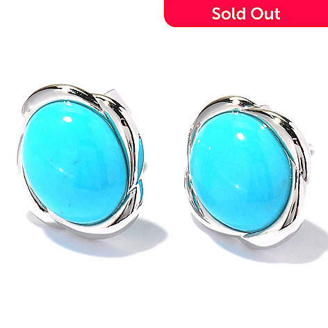 122-424 - Gem Insider™ Sterling Silver 10 x 8mm Sleeping Beauty Turquoise Button Earrings