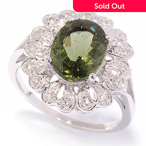 122-427 - Gem Treasures Sterling Silver 2.16ctw Moldavite & White Topaz Flower Ring