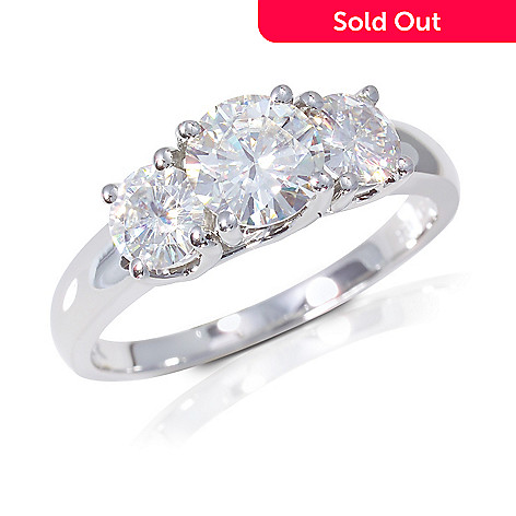 122-767 - 14K White Gold 1.26ct DEW Moissanite Three-Stone Ring