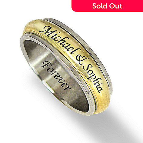 123-371 - Stainless Steel / Gold Tone Personalized Men's Spinner Ring