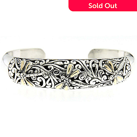 124-016 - Samuel B. Sterling Silver & 18K Gold Accent Swirl Design Dragonfly Cuff Bangle Bracelet