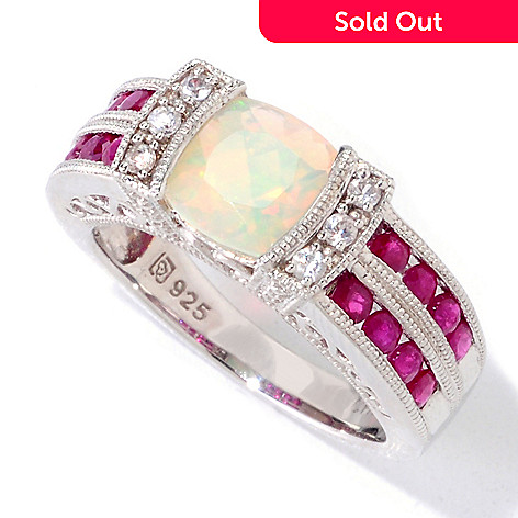 124-824 - Gem Insider Sterling Silver Ethiopian Opal, Ruby & White Sapphire Ring
