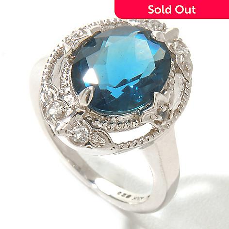 124-825 - Gem Insider Sterling Silver 3.38ctw Blue Fluorite & White Topaz Ring