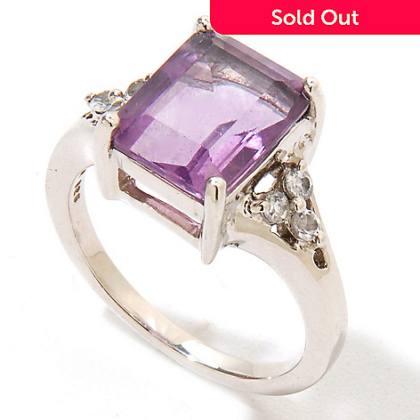 124-826 - Gem Insider Sterling Silver 3.12ctw Purple Fluorite & White Topaz Ring