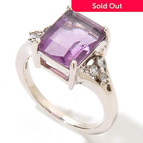 124-826 - Gem Insider Sterling Silver 3.12ctw Purple Fluorite & White Topaz Ring