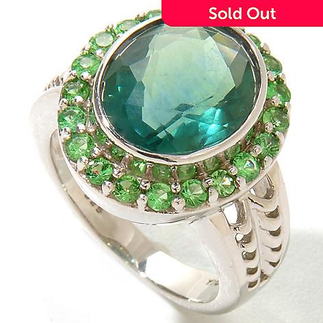 124-827 - Gem Insider Sterling Silver 4.77ctw Green Fluorite & Tsavorite Ring