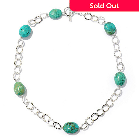 124-832 - Gem Insider Sterling Silver 19.875'' Green Turquoise Station Necklace