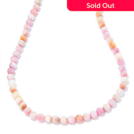 124-834 - Gem Treasures® Sterling Silver Kunzite Bead Necklace w/ Magnetic Clasp