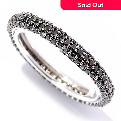 124-838 - Gem Treasures Sterling Silver 1.60ctw Pave Black Spinel Eternity Band Ring