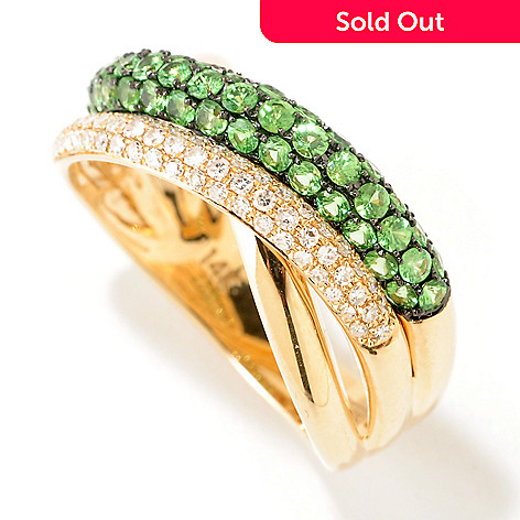 124-850 - EFFY 14K Choice 1.00ctw Diamond & Ruby or Tsavorite Pave Crossover Band Ring