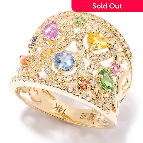 124-852 - EFFY 14K Gold 1.50ctw Multi Color Sapphire & Diamond Ring