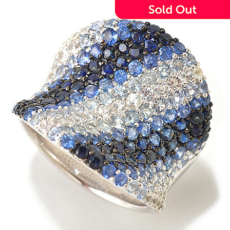 124-853 - EFFY Sterling Silver 4.50ctw Blue Sapphire Wide ''Balissima'' Ring