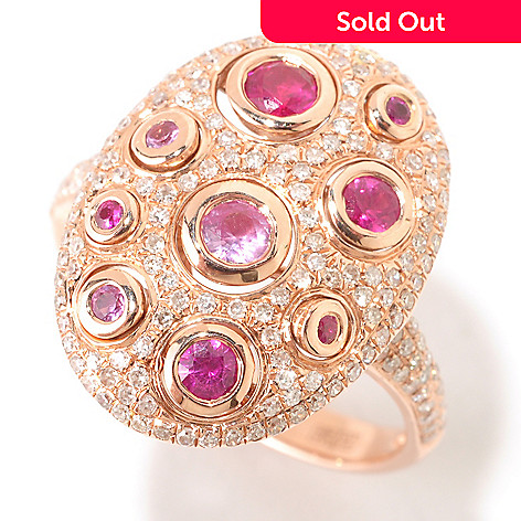 124-860 - EFFY 14K Rose Gold 0.97ctw Diamond, Ruby & Pink Sapphire Bezel Ring