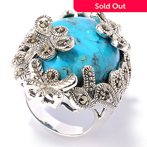124-861 - Gem Insider™ Sterling Silver Turquoise & Grey Marcasite Butterfly Ring