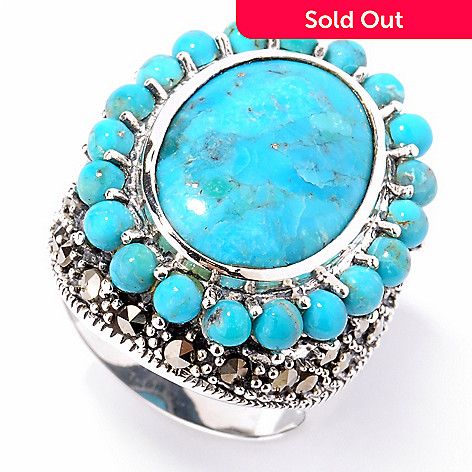 124-862 - Gem Insider® Sterling Silver 17 x 13mm Turquoise & Marcasite Ring