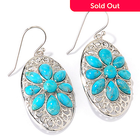 124-864 - Gem Insider Sterling Silver Turquoise Flower Earrings
